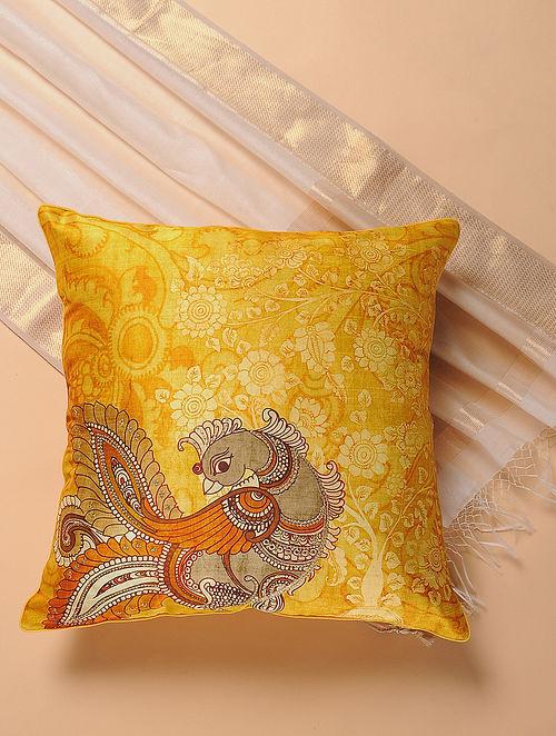 Yellow Printed and Embroidered Kalamkari Cushion Cover
