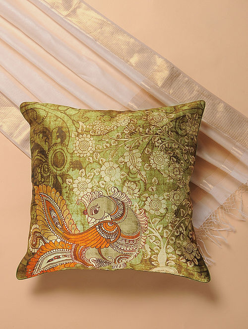 Green-Brown Printed and Embroidered Kalamkari Cushion Cover