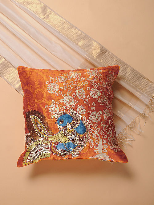 Orange-Blue Printed and Embroidered Kalamkari Cushion Cover