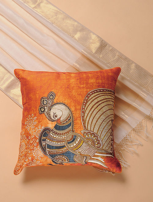 Orange Printed and Embroidered Kalamkari Cushion Cover