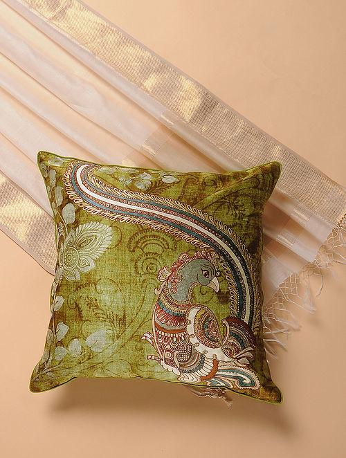 Green Printed and Embroidered Kalamkari Cushion Cover