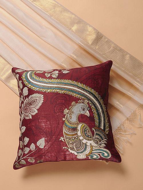 Maroon Printed and Embroidered Kalamkari Cushion Cover