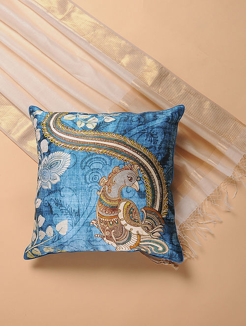 Blue Printed and Embroidered Kalamkari Cushion Cover
