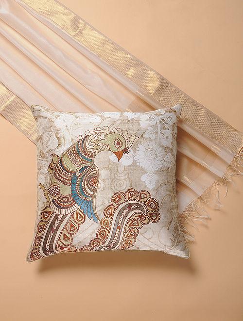 Ivory Printed and Embroidered Kalamkari Cushion Cover