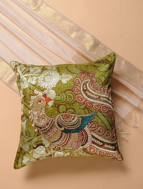 Green-Blue Printed and Embroidered Kalamkari Cushion Cover