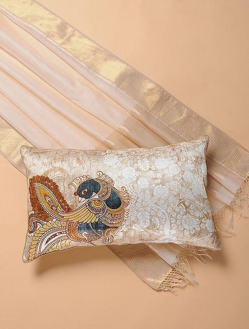 Beige Printed and Embroidered Kalamkari Cushion Cover (12in x 20in)