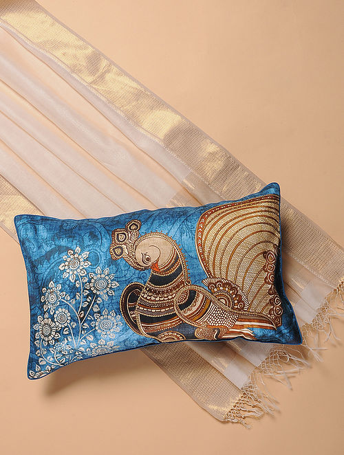 Blue Printed and Embroidered Kalamkari Cushion Cover (12in x 20in)