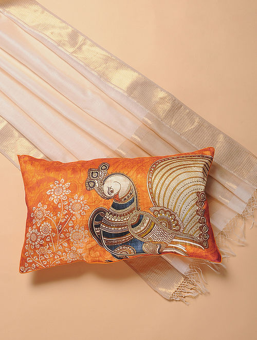 Orange Printed and Embroidered Kalamkari Cushion Cover (12in x 20in)