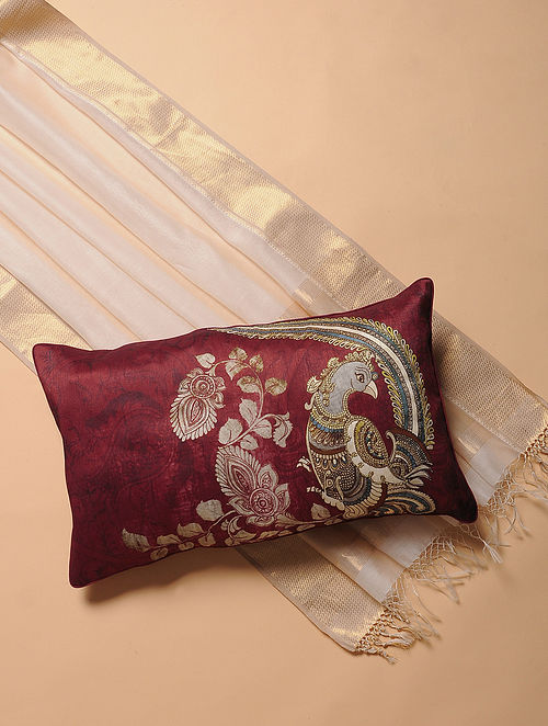 Maroon Printed and Embroidered Kalamkari Cushion Cover (12in x 20in)