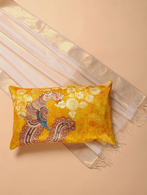 Yellow Printed and Embroidered Kalamkari Cushion Cover (12in x 20in)