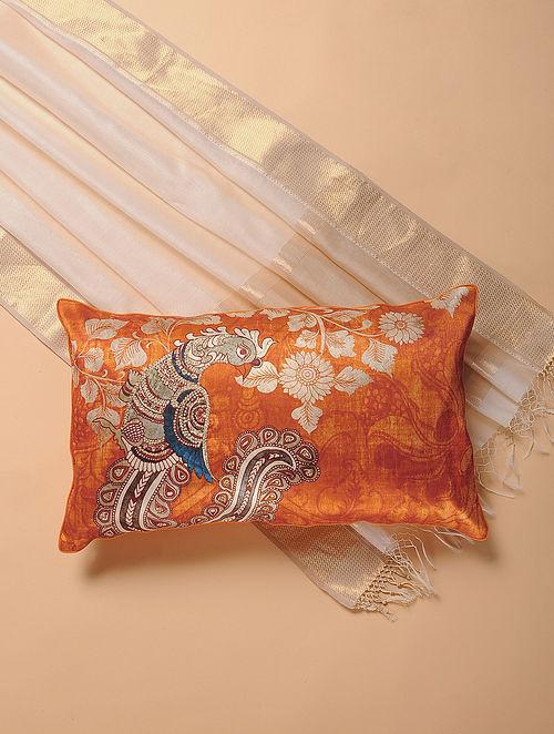 Orange Printed and Embroidered Kalamkari Cushion Cover (12in x 20in)