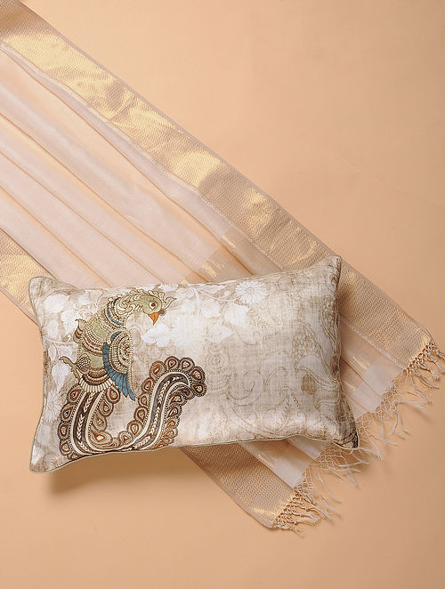 Ivory Printed and Embroidered Kalamkari Cushion Cover (12in x 20in)