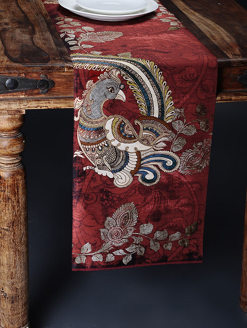Maroon Printed and Embroidered Kalamkari Table Runner (71in x 12.5in)