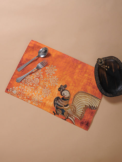 Orange Printed and Embroidered Kalamkari Place Mat (17.5in x 11.5in)