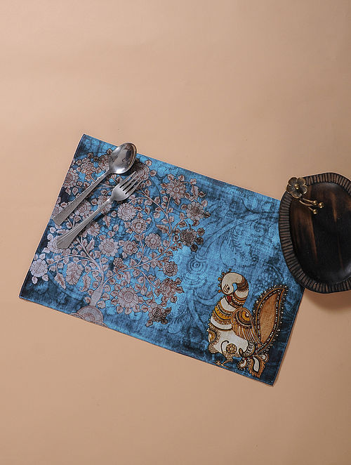 Blue Printed and Embroidered Kalamkari Place Mat (17.5in x 11.5in)
