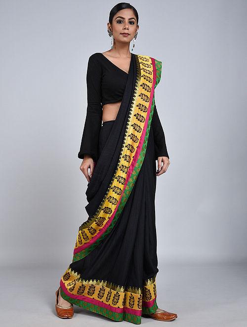 Black-Yellow Handloom Benarasi Cotton Silk Constructed Saree