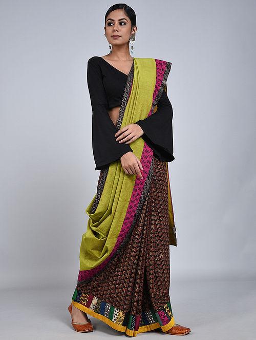 Lime-Purple Handloom Benarasi Cotton Constructed Saree