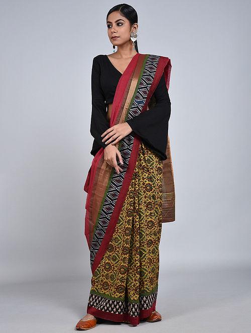 Red-Yellow Handloom Benarasi Cotton Silk Constructed Saree