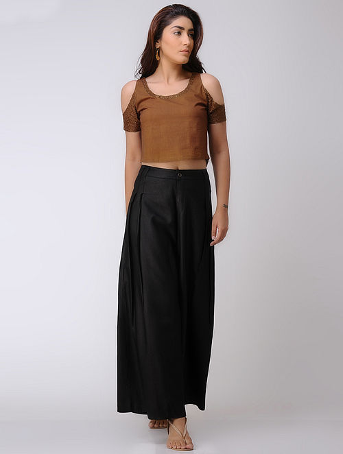 Brown Embroidered Cambric Crop Top