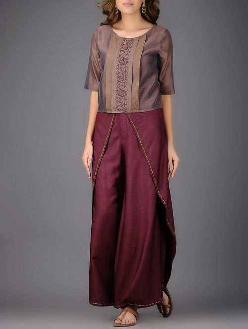 Mauve Printed Box Pleated Chanderi Top