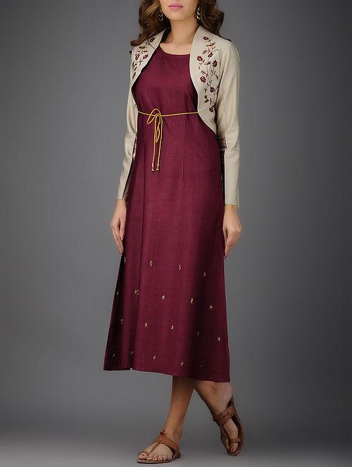 Beige Embroidered Cotton Silk Jacket
