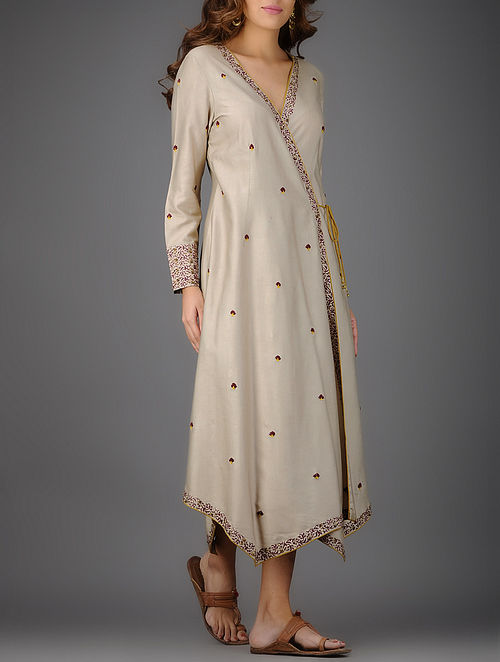 Beige-Burgundy Printed Cotton Silk Dress with Embroidery and Piping