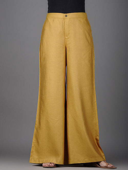 Mustard Cotton Silk Palazzos