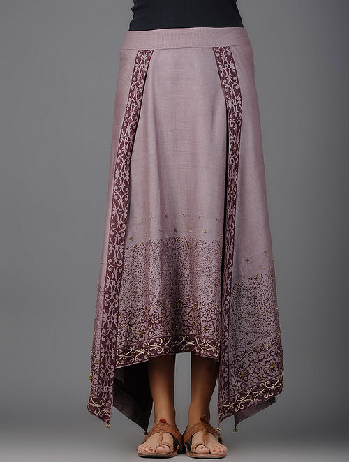 Mauve Printed Asymmetrical Cotton Silk Skirt with Embroidery