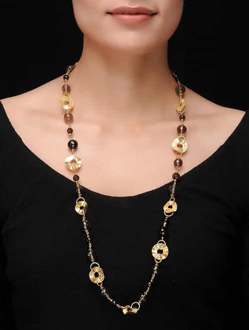 Smoky Quartz Gold-plated Silver Necklace