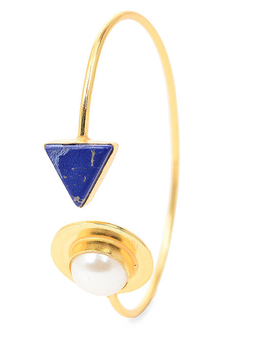 Blue Gold Tone Cuff with Pearl
