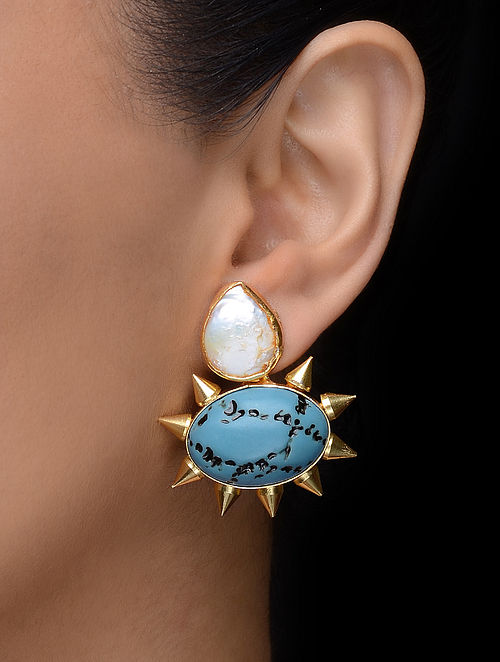 White-Turquoise Gold Tone Earrings
