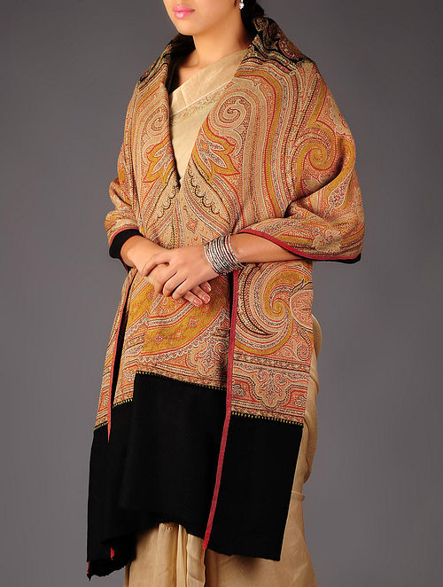 French Paisley 1860s Extra Large Jacquard Loom Woven Shawl by Aditi Collection