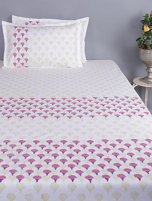 Purple-White Block-printed Glace Cotton Double Bedsheet with Pillow Covers (Set of 3)