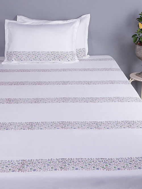 White-Multicolored Block-printed Glace Cotton Double Bedsheet with Pillow Covers (Set of 3)