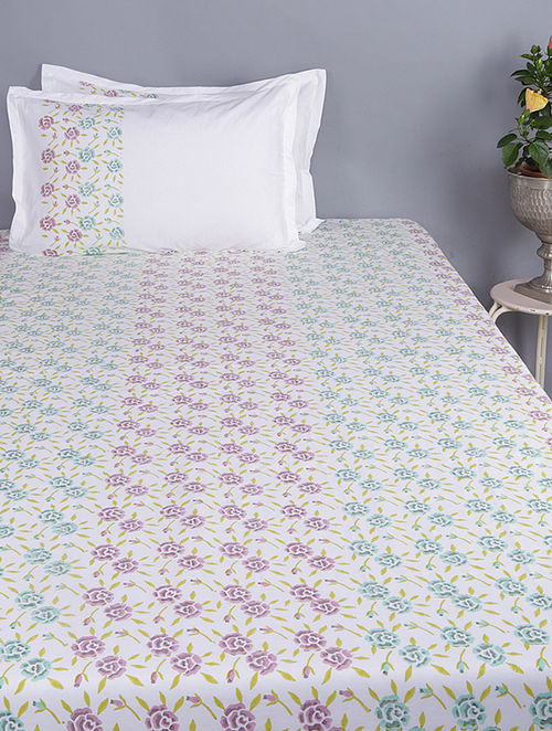 Blue-Pink Block-printed Glace Cotton Double Bedsheet with Pillow Covers (Set of 3)