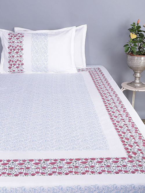 White-Maroon Block-printed Glace Cotton Double Bedsheet with Pillow Covers (Set of 3)(110in x 100in)