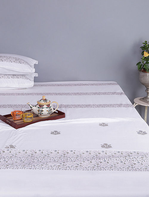 White-Grey Block-printed Cotton Single Dohar (Set of 2)