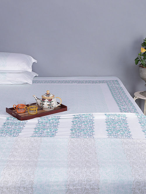 White-Green Block-printed Cotton Reversible Single Dohar (Set of 2) (110in x 100in)