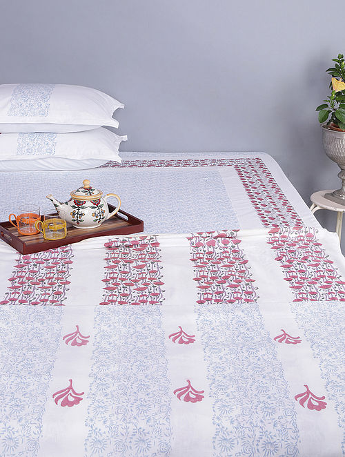 White-Maroon Block-printed Cotton Reversible Single Dohar (Set of 2) (96in x 64in)