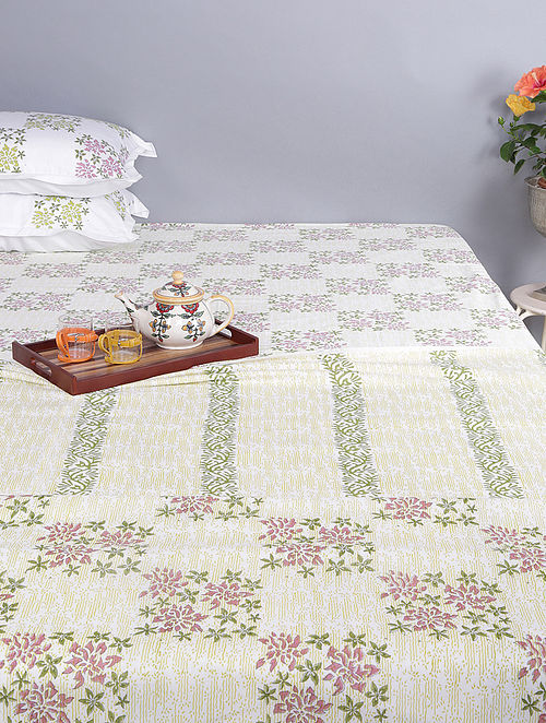 White-Green Block-printed Cotton Reversible Single Dohar (Set of 2) (96in x 64in)