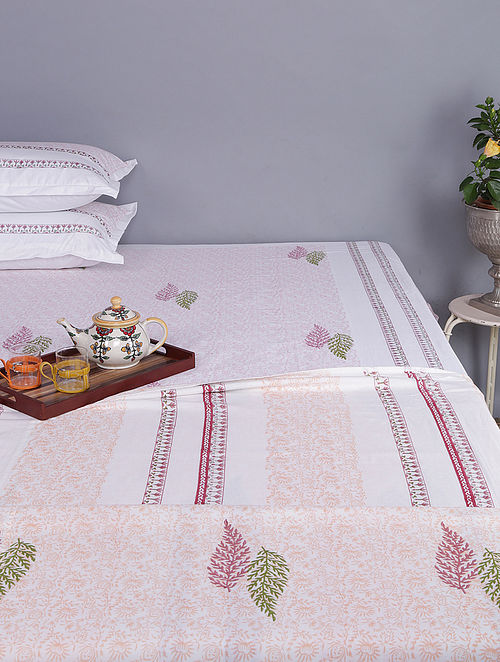 White-Pink Block-printed Cotton Reversible Single Dohar (Set of 2) (96in x 64in)