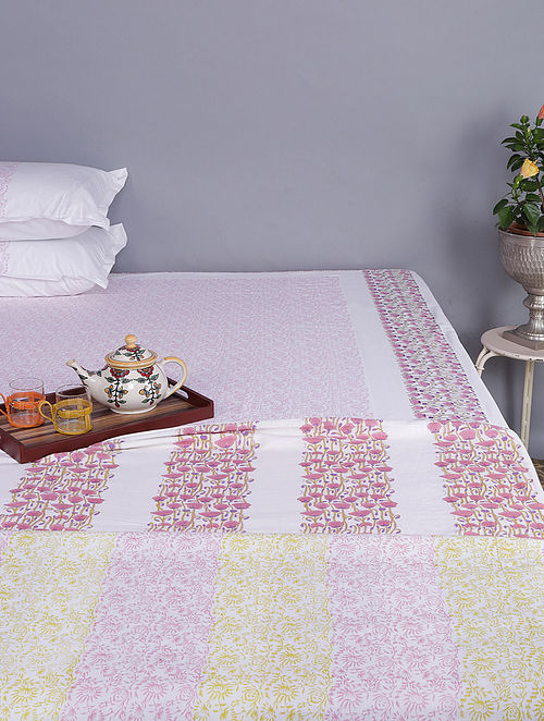 White-Pink Block-printed Cotton Reversible Double Dohar (96in x 86in)
