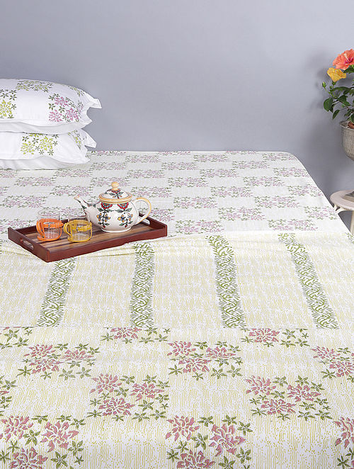 White-Green Block-printed Cotton Reversible Double Dohar (96in x 86in)