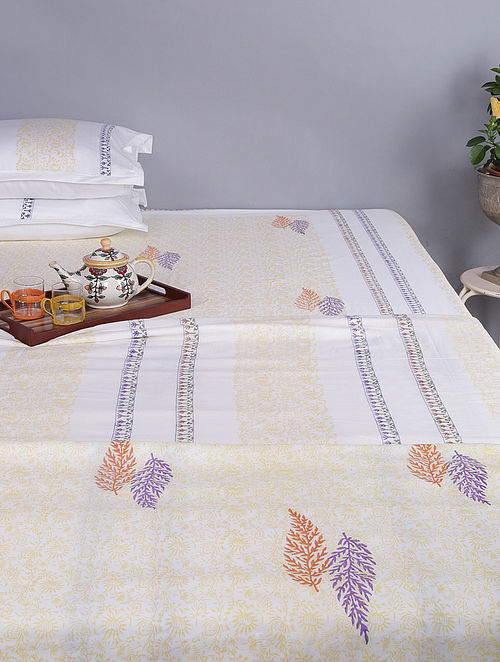 White-Yellow Block-printed Cotton Reversible Double Dohar (96in x 86in)