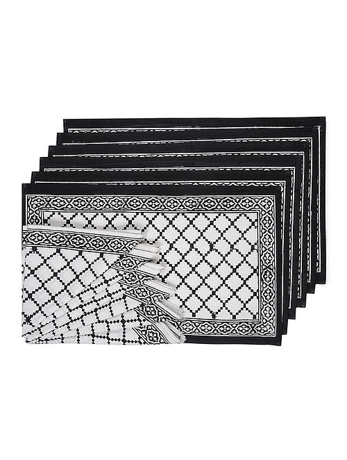 Black-White Hand Block-printed Cotton Table Mats and Napkins (Set of 12)