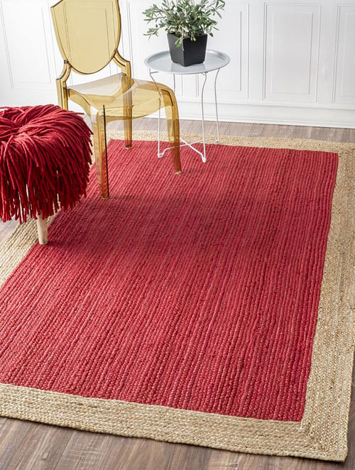 Natural Red Handmade Rug in Hemp