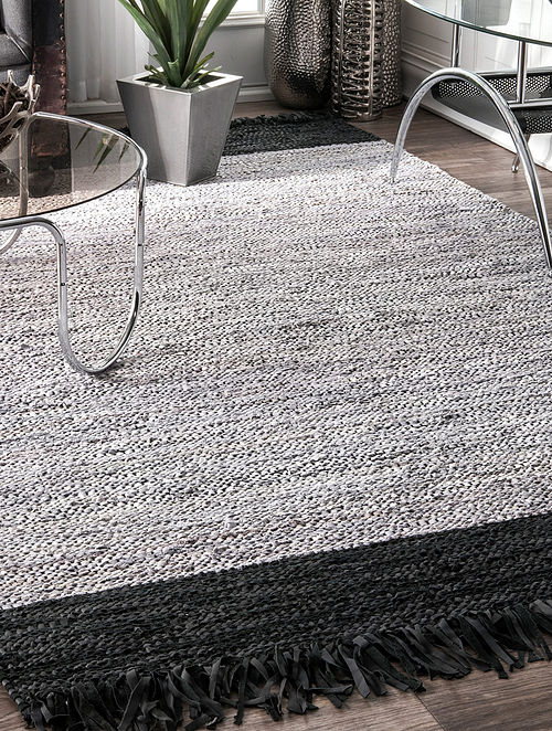 Grey and Black Handwoven Flat Weave New Zealand Wool and Cotton Rug