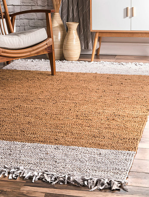 Beige Handwoven Flat Weave New Zealand Wool and Cotton Rug