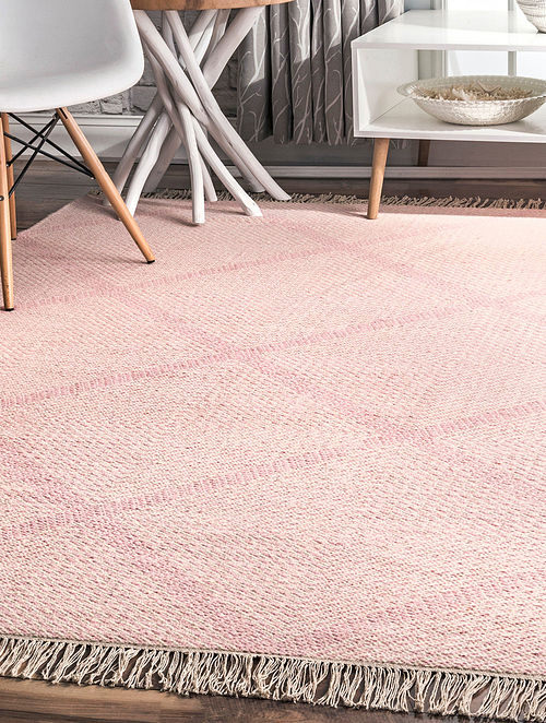 Pink Handwoven Flat Weave New Zealand Wool and Cotton Rug