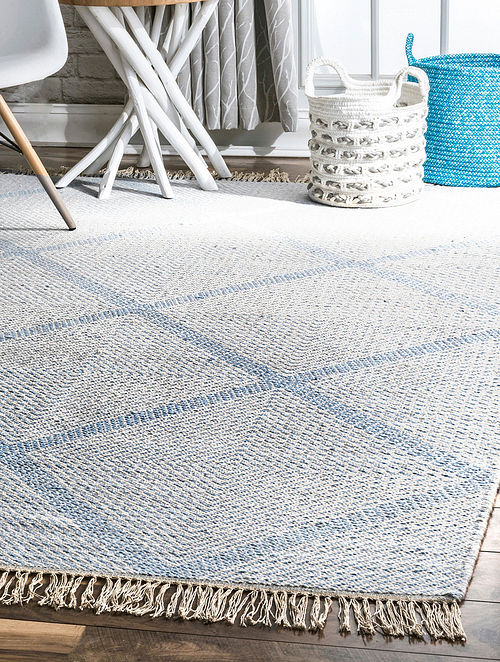 Blue Handwoven Flat Weave New Zealand Wool and Cotton Rug